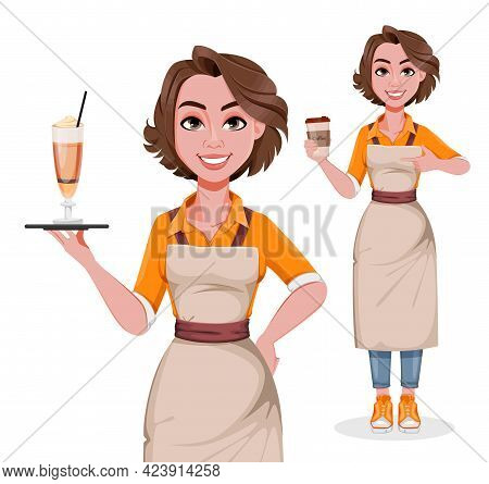 Female Barista, Set Of Two Poses. Coffee Business Concept. Beautiful Woman Barista Cartoon Character