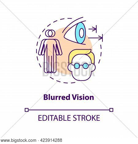 Blurred Vision Concept Icon. Problems With Eyes. Medical Help. Curing Sight Issues. Seeing Badly Abs