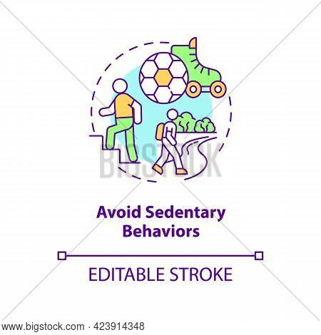 Avoid Sedentary Behaviors Concept Icon. Lazy Lifestyle Living. Being More Active During Day. Health