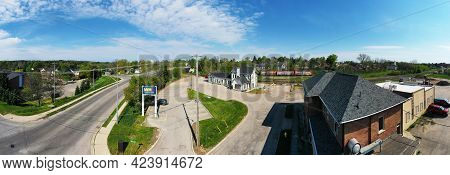 Woodstock, Ontario/canada- May 25: An Aerial Panorama Of An Old Train Station In Woodstock, Ontario,