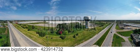 Woodstock, Ontario/canada- May 25: An Aerial Panorama Of A Water Tower In Woodstock, Ontario, Canada