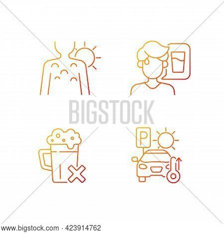 Sunstroke Precaution Gradient Linear Vector Icons Set. Sunburn On Person Skin. Avoid Alcohol, Stayin