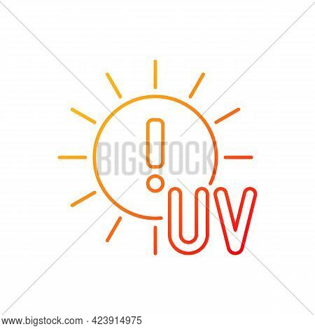 Danger Of Uv Rays Gradient Linear Vector Icon. Ultraviolet Exposure Risk During Summer. Sun Overexpo