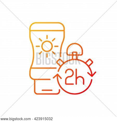 Apply Sunscreen Every 2 Hours Gradient Linear Vector Icon. Sunblock Lotion Application Tip. Cream Fo