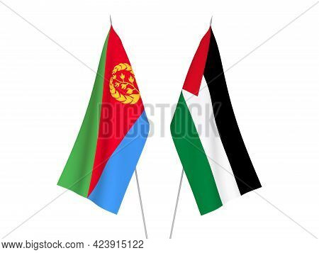 National Fabric Flags Of Palestine And Eritrea Isolated On White Background. 3d Rendering Illustrati