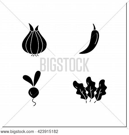Vegetables Glyph Icons Set. Edible Plant. Vegetarian, Healthy Nutrition. Onion And Chili Pepper, Bee