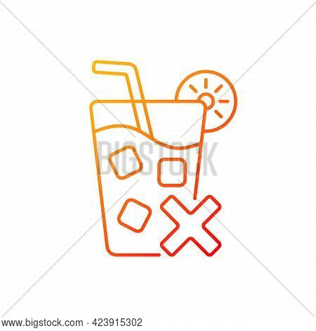 No Cold Drinks Gradient Linear Vector Icon. Avoid Iced Drinks During Summer Heat. No Chilled Beverag
