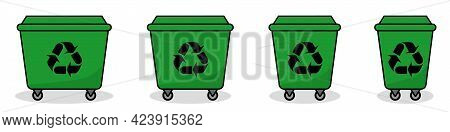 Trash Can Icon. Set Of Trash Can Icons. Trash Cans Of Different Sizes. Vector Illustration. Green Tr