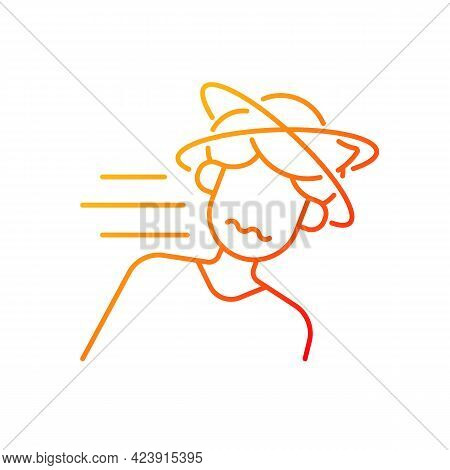 Fainting Gradient Linear Vector Icon. Man Lose Consciousness From Sunstroke. Head Spinning As Heatst