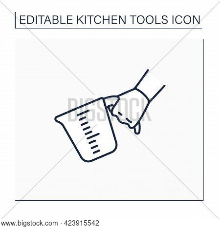 Measuring Cups Line Icon. Cooking Utensils. Used To Measure Liquid Volume, Bulk Solid Cooking Ingred