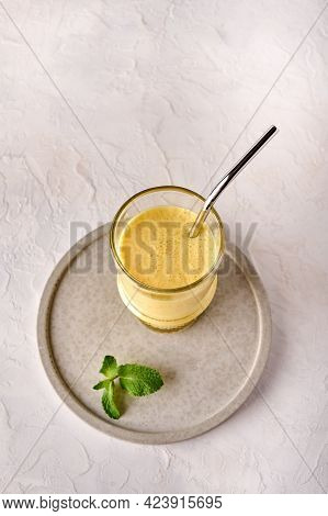 Lassi Is Traditional Indian Cold Refreshing Drink With Mango, Mint And Ice. Perfectly Quenches Thirs