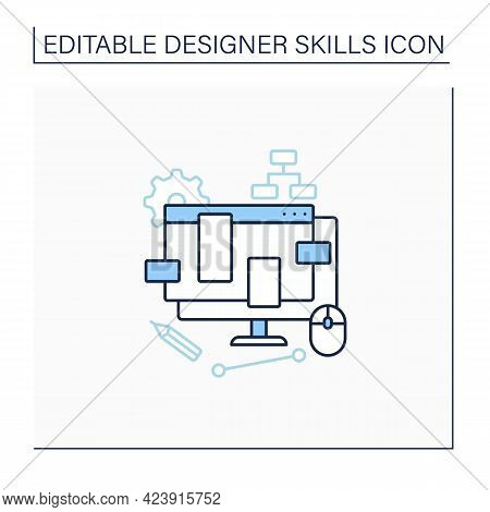 Ux Design Line Icon.create Interface Design Based On User Experience. Functions, Product Adaptabilit