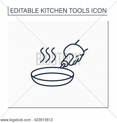 Stainless Steel Skillet Line Icon. Fry Pan. Flat-bottomed Pan. Used For Frying, Searing, And Brownin