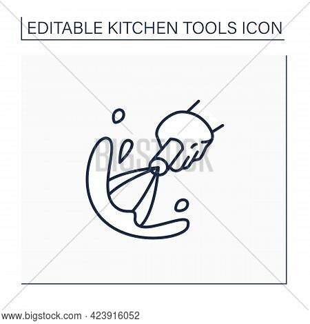 Whisk Line Icon. Whipping Cream, Mousse Manual Device. Cooking Utensils. Kitchen Tools Concept. Isol