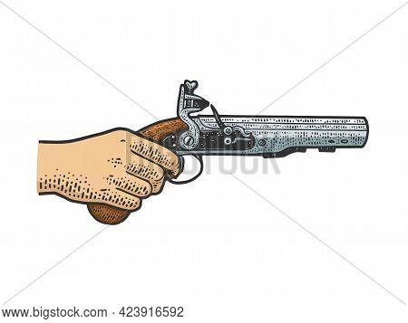 Flintlock Muff Pistol In Hand Color Line Art Sketch Engraving Vector Illustration. T-shirt Apparel P