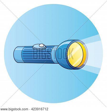 Blue Shining Flashlight Torch Cartoon Vector Icon