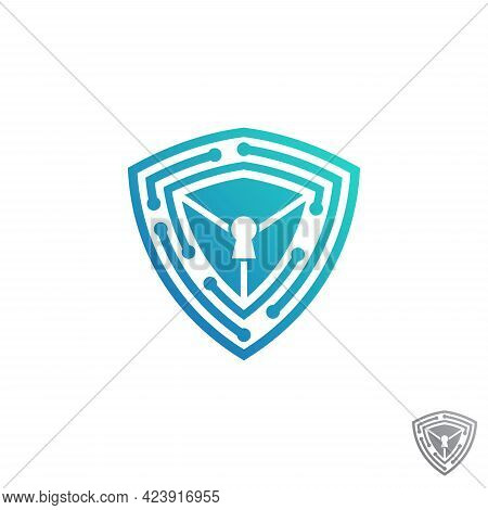 Shield Guard Tech Icon Vector Design Stock. Security Tech Symbol Inspiration. Protection Technology