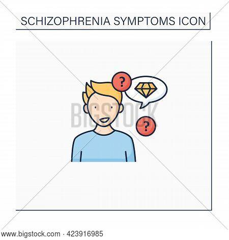 Neologism Color Icon. Made Up New Words Or Phrases. Creating Own Words With Special Meaning.schizoph