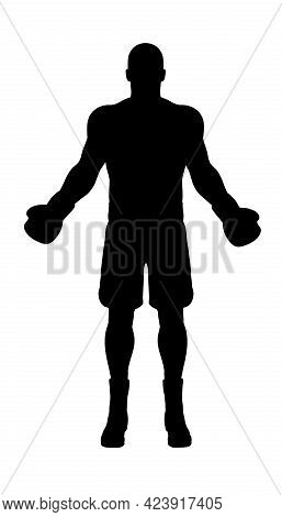 Silhouette Of A Muscular Boxer In Boxing Gloves On A White Background. Front View. Vector Illustrati