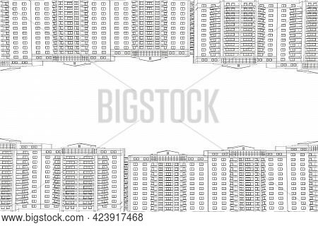 Wireframe Of High Rise Buildings From Below And From Above Illustration. Vector Illustration