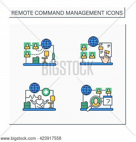 Remote Command Management Color Icons Set. Virtual Office, Interactive Documents, Work Conditions, D