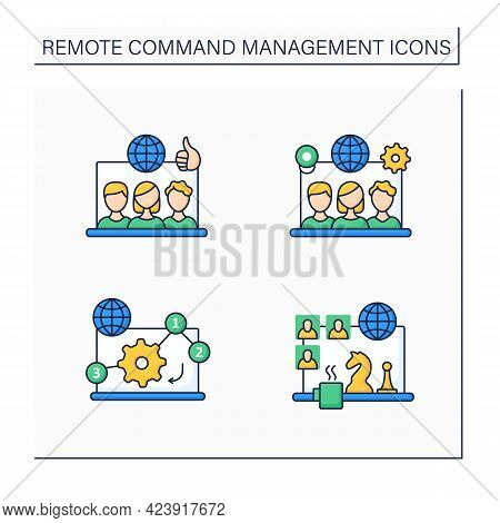 Remote Command Management Color Icons Set. Remote Working Culture, Team Tools, Manage Priorities, Te