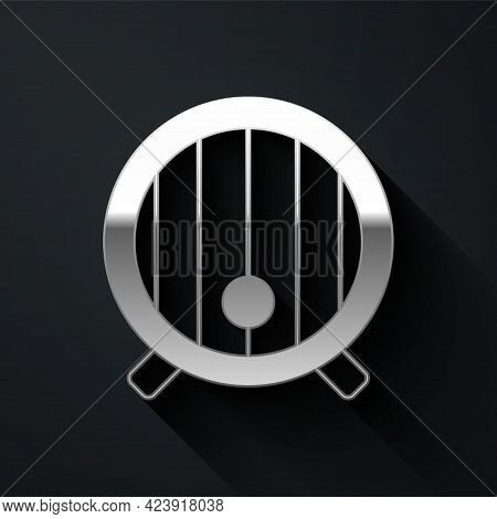 Silver Wooden Barrel Icon Isolated On Black Background. Alcohol Barrel, Drink Container, Wooden Keg