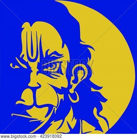 Drawing Or Sketch Of Sticker Angry Hanuman. Vector Editable Illustration Of Anjaneya