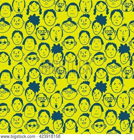 Seamless Pattern With Funny Doodle Diverse People Faces. Cute Simple Texture For Textile And Wallpap