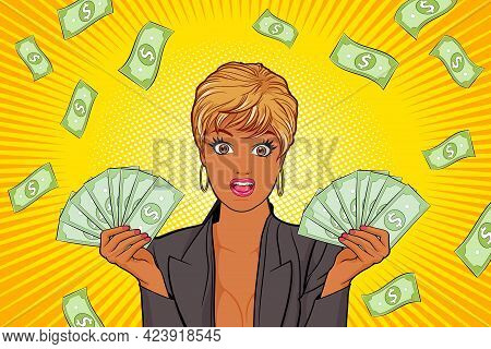 Surprised Black Woman Showing Money And Falling Down Money Copy Space For Banner Pop Art Retro Comic