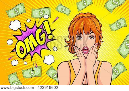 Surprised Woman Face Wow With Open Mouth Omg And Falling Down Money Copy Space For Banner Pop Art Re