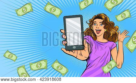 Shocking Woman Show Smartphone Surprised With Falling Down Money Pop Art Retro Comic Style