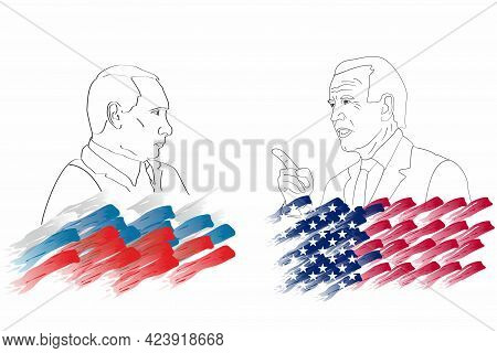 Russian President Putin And Us President Joe Biden. Graphic Linear Portraits Against Background Of S