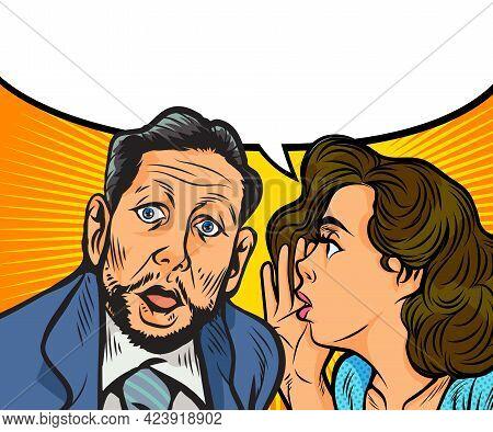 Gossip Woman Whispering Secret Or News In Ear Of Surprised Person With Speech Bubble  In Pop Art Ret