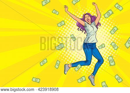 Woman Jumping Happy Surprised With Falling Down Money Pop Art Retro Comic Style