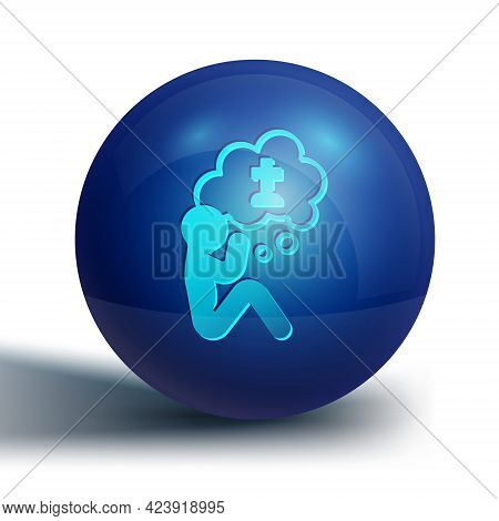 Blue Man Graves Funeral Sorrow Icon Isolated On White Background. The Emotion Of Grief, Sadness, Sor