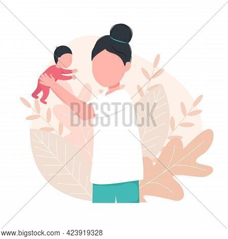Young Mother Is Holding Or Playing With Her Baby. Family, Motherhood, Pregnancy Concept. Vector Illu