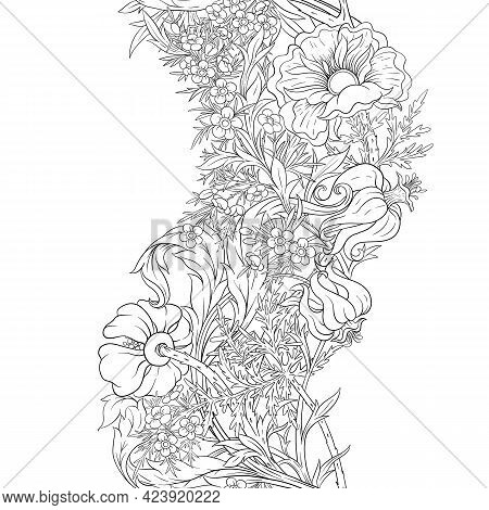 Floral Seamless Pattern, Background With In Art Nouveau Style, Vintage, Old, Retro Style. Outline Gr