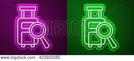 Glowing Neon Line Airline Service Of Finding Lost Baggage Icon Isolated On Purple And Green Backgrou