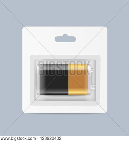 Realistic Detailed 3d Pack Of Alkaline Battery. Vector