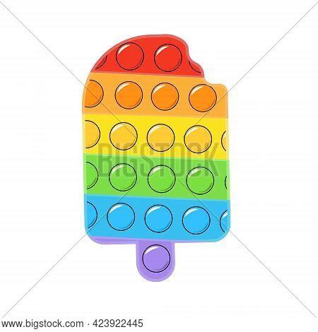 Pop It Ice Cream. Modern Toy Antistress.rainbow Color Antistress Ice Cream Toy. Ideal For Relaxation
