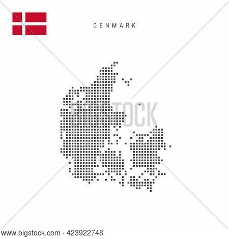 Square Dots Pattern Map Of Denmark. Danish Dotted Pixel Map With National Flag Isolated On White Bac