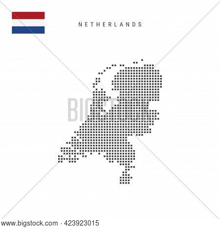Square Dots Pattern Map Of Netherlands, Holland. Dutch, Netherlandish Dotted Pixel Map With National