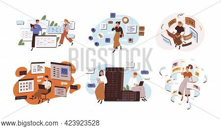 Concept Of Software Development And Web Programming. Set Of People Coding And Working With Cms Archi
