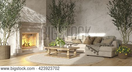 Scandinavian Farmhouse Style Living Room Interior With Natural Wooden Furniture And Fireplace 3d Ren