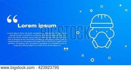 White Line Nuclear Power Plant Worker Wearing Protective Clothing Icon Isolated On Blue Background.