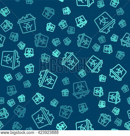 Green Line Infectious Waste Icon Isolated Seamless Pattern On Blue Background. Tank For Collecting R