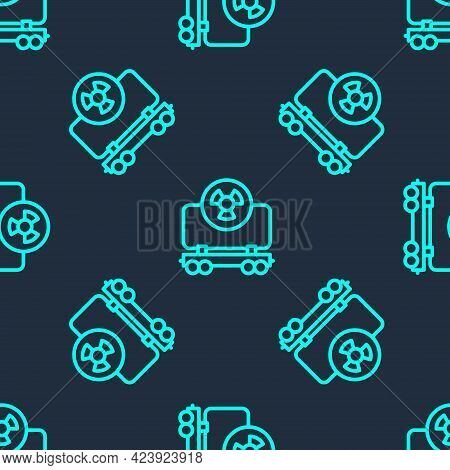 Green Line Radioactive Cargo Train Wagon Icon Isolated Seamless Pattern On Blue Background. Freight