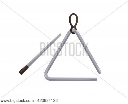 Metal Triangle With Stick. Percussion Music Instrument. Colored Flat Vector Illustration Isolated On