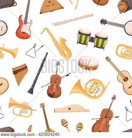 Seamless Pattern With Different Classical And Ethnic Music Instruments On White Background. Repeatab